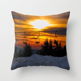 Sunset on the slopes.  Mt Hood, Oregon Throw Pillow