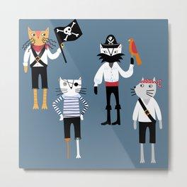Pirate Cats Metal Print