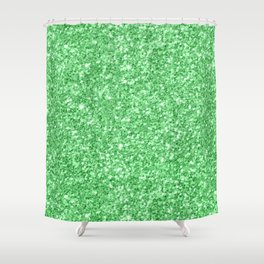 Green glitter texture print Shower Curtain