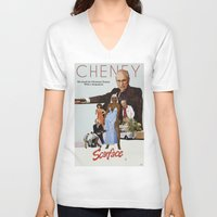 scarface V-neck T-shirts featuring Cheney Scarface by vipez