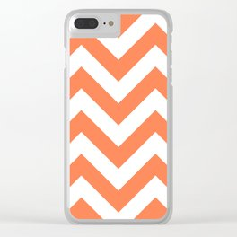 Large chevron pattern / coral Clear iPhone Case