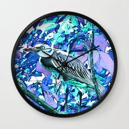Crowned night heron blue and purple Wall Clock