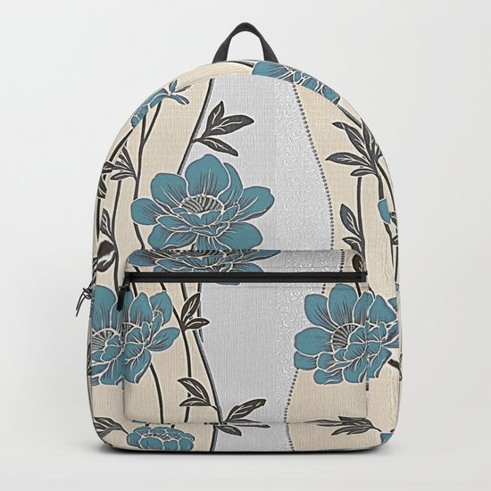 Greenish Blue Flower Garland Backpack