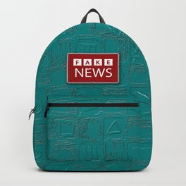 Backpack Teal Squares Pattern with Fake News BBC Style Logo Backpack