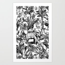 Africa Meets India Black And White Art Print