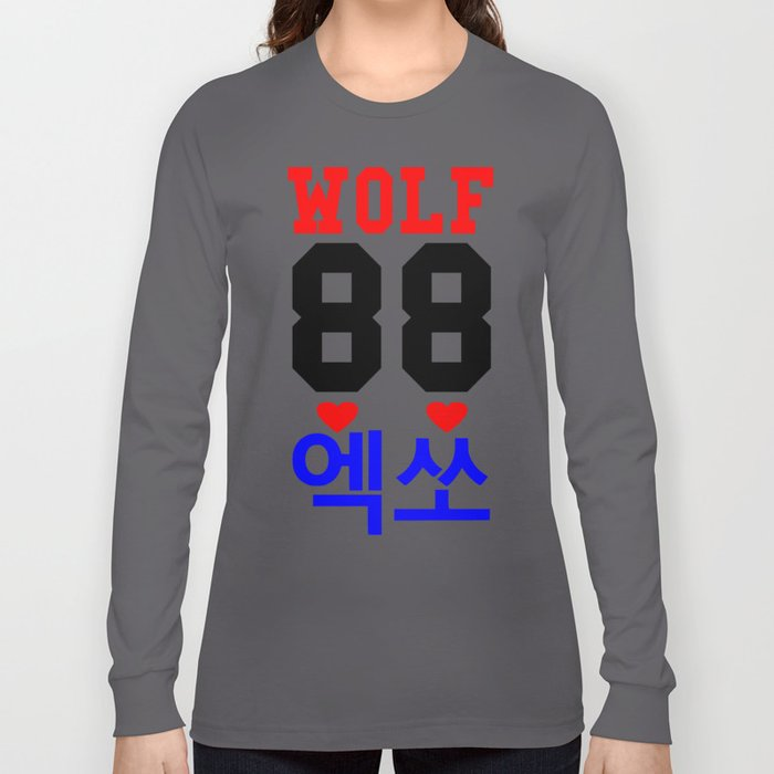 Wolf 88-Awesome KPop Group-EXO in Hangeul Long Sleeve T ...