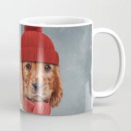 Drawing dog English Cocker Spaniel in hat and scarf Coffee Mug