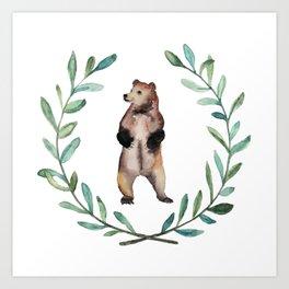 Bear Wreath Art Print