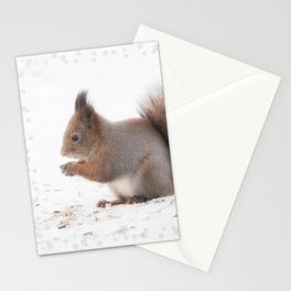 Squirrel And Lunch Pause Winter Scene #decor #society6 #buyart Stationery Cards