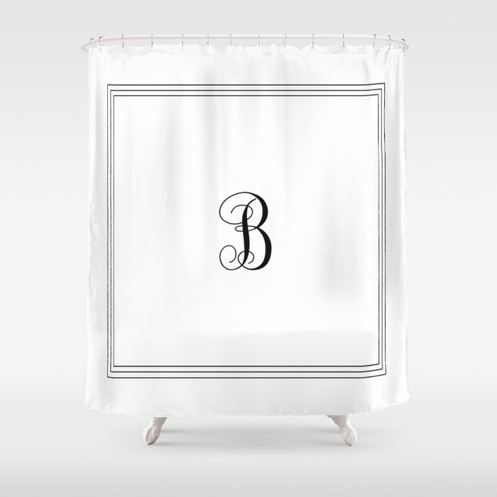 Monogram Letter B In Black With Triple Border Shower Curtain