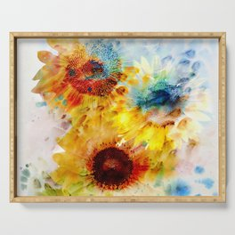 Watercolor Sunflowers Serving Tray