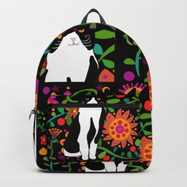Tuxedo cat with flowers black background Backpack