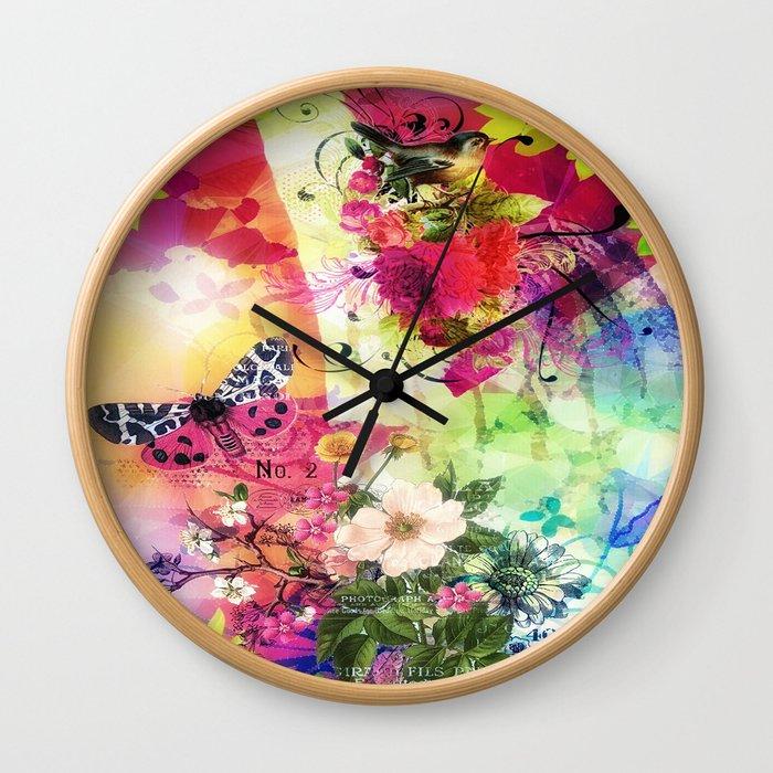 Floral Fantasy 7 Wall Clock