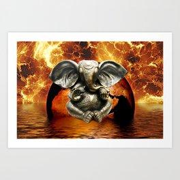 Elephant Ganesha and Earth Art Print