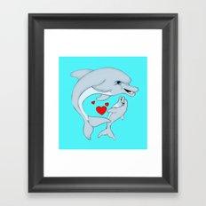 Motherly Dolphin Love Framed Art Print