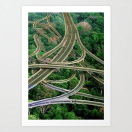 Capillary Motion, art print, gift, collage art, hand cut Art Print