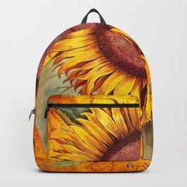Vintage Botanical Sunflower Collage Art Backpack
