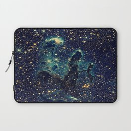 Pillars of Creation GalaxY  Teal Blue & Gold Laptop Sleeve