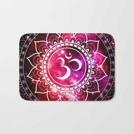Ohm Mandala : Galaxy Mandala Red Fuchsia Pink Bath Mat