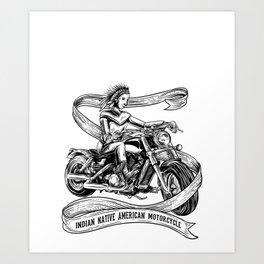 Motorcycle Indian shirt for men native american Art Print