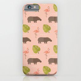 Hippos and flamingos iPhone Case