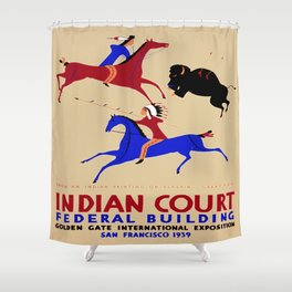 Vintage poster - Indian Court Federal Building Shower Curtain