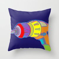 Throw Pillows featuring Power Tool by Paco Dozier