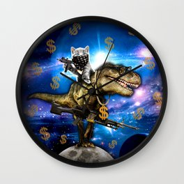 Cat Kitty Travel through Galaxy on Dinosaur T-rex with Guns and Golden chains Swag money dollars Wall Clock