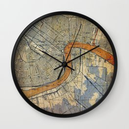 New Orleans Louisiana 1932 vintage map, NO old colorful artwork Wall Clock