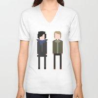 8 bit V-neck T-shirts featuring Sherlock 8-Bit by Raquel Segal