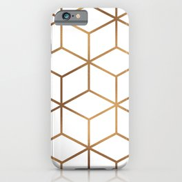 White and Gold - Geometric Cube Design iPhone Case