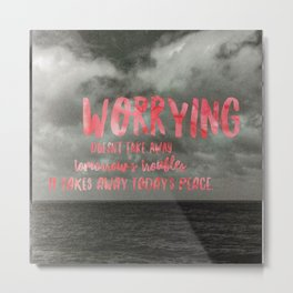 Motivation Poster Black and White Moody Skies with Bright Pink Typography Metal Print