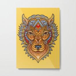 Ornamental Wolf Head Metal Print