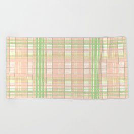 Peach Mint Gingham Design Beach Towel