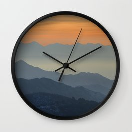 """""""Sunset at the mountains"""". Dreaming... Wall Clock"""