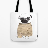 pug Tote Bags featuring Pug  by Phillippa Lola