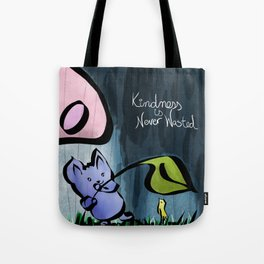 Kindness is Never Wasted Motivational Artwork Cute Sweet Watercolor Mouse and Bird Tote Bag
