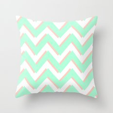 3D CHEVRON MINT/PEACH Throw Pillow