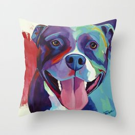Emma - Pitbull Pop Art Throw Pillow