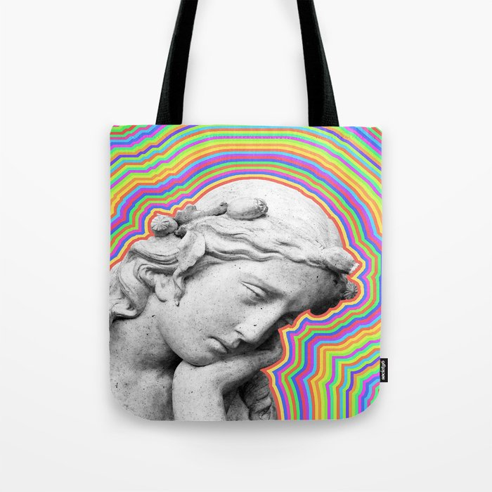 Psychedelic statue girl Tote Bag