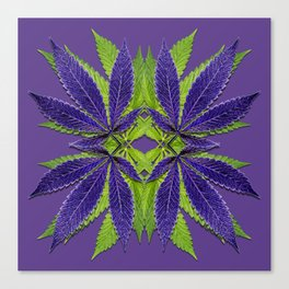 Marijuana Leaves Ultra Violet Pattern Canvas Print