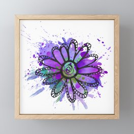 GC031-6 Colorful watercolor doodle flower blue and purple Framed Mini Art Print