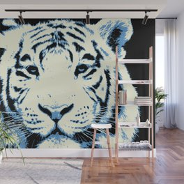 white tiger, pop art style portrait Wall Mural