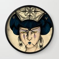 asia Wall Clocks featuring Asia by Pri Floriano