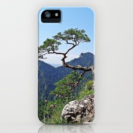 Tree in the mountain peack with green view in the sunny noon with clear blue sky iPhone Case