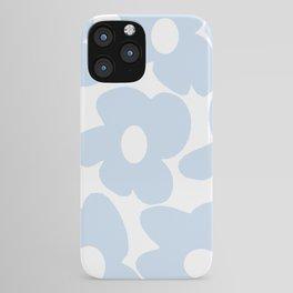 Large Baby Blue Retro Flowers White Background #decor #society6 #buyart iPhone Case