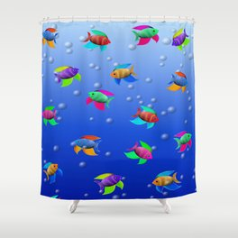 Bright Tropical Fish Shower Curtain