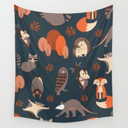 Woodland Nocturnal Animals Wall Tapestry
