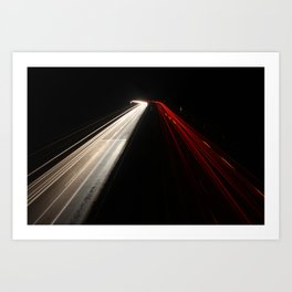Motorway at night Art Print