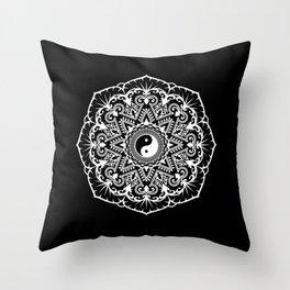 Taoist Mandala - White on Black Throw Pillow